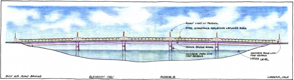 "Conceptual illustration of replacement bridge design, showing ornamental ""acorn"" lights."